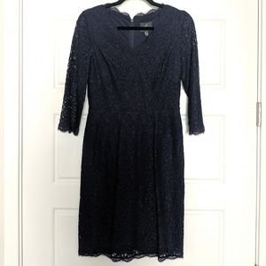 Adrianna Papell Navy Wrap Lace Dress